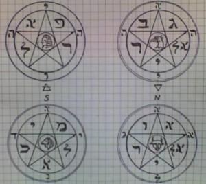 Пентакли четырёх стихий. (фото из магического дневника Магнуса Моргенштерна).